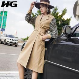 moda per figure complete Sconti [HG] 2019 Primavera Nuovo Modo di Arrivo Corea Donne Full Sleeve Tum-down Collare Patchwore Plaid Figura Trash Coat LYH2684