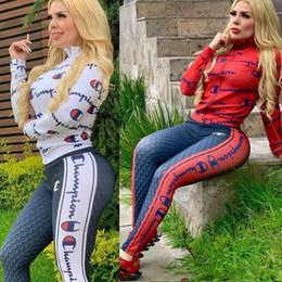 2019 fotos sexy de mujeres calientes campeón para mujer de la chaqueta deportiva chándal de dos piezas de las medias del traje de la camiseta de las mujeres del deporte que activan el juego del deporte del juego de pantalones tops 6131
