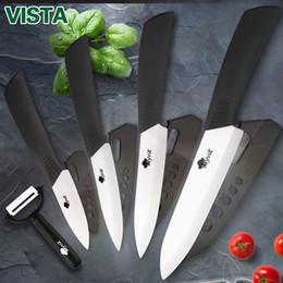 cuchillos de cocina de mango blanco Rebajas Cuchillos de cerámica Juego de cuchillos de cocina 3 4 5 6 pulgadas Cuchillo de cocinero Juego de cocina + pelador Blanco Zirconia Blade Mango multicolor Alta calidad
