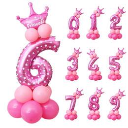 2019 favores de la rosa azul Diy 16 '' 0-9 Número Foil Globos Set Aniversario de Boda Globo Baby Shower 1er Cumpleaños Globos Fiesta de Cumpleaños para Niños Suministros Digital Air