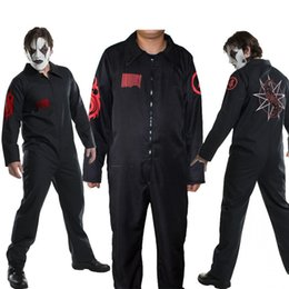black music dress Promo Codes - SlipKnot Theme Costume Halloween Party Dress Digital Printed Long Sleeved Black Uniforms Movie Stars Cosplay