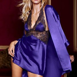 Conjuntos de camisón para las mujeres online-Señoras de las mujeres Sexy Satén Seda Noche Vestido de Albornoz Conjuntos de camisón 2019 Kimono Lencería ropa de dormir ropa de dormir Robe De