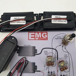 Guitarra electrica emg online-EMG 81/85 Pastilla activa Pastillas Humbucker para guitarra eléctrica con potenciómetro de 25 K Accesorios de montaje + Dibujos de instalación