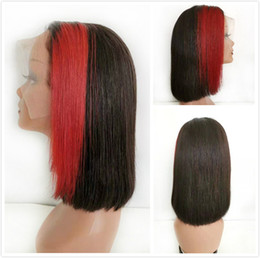 highlighting short hair Promo Codes - Highlight Red Bob Lace Front Wigs Short Pixie Indian Human Hair Pre Plucked 1B Red Straight Ombre Short Glueless Bob Wig For Black Women