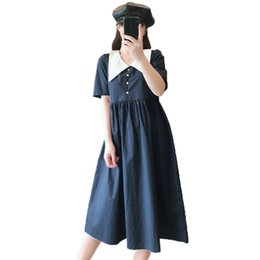 peter pan collar knee length dress Coupons - Summer Women Blue Retro Style Dresses Female Peter Pan Collar Empire Waist Shirtdress Plus Size Knee Length Blue Dress Woman 5XL