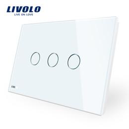 au interruttori a parete Sconti Produttore, Livolo Wall Switch, pannello 3-gang 110 ~ 220V Crystal Glass, AU / US Standard Touch Screen Control Light