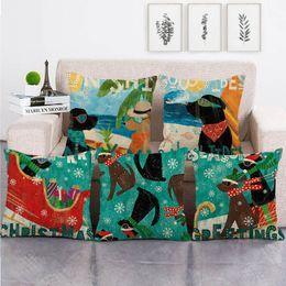 Almohadas de tiro negro para el sofá online-45cm * 45cm perro negro fundas de almohada tiro ropa de diseño / algodón cojín del sofá cubierta de decoración para el hogar almohada