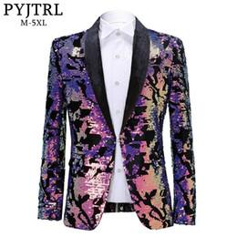 Traje slim fit brillante online-Pyjtrl Moda Púrpura Colorido Velvet Sequins Blazer Masculino Slim Fit Chaqueta de traje de los hombres Escenario Traje Cantante Shiny Blazers
