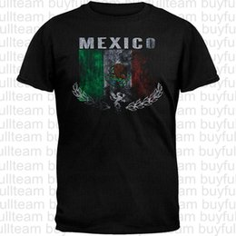 2019 camisas de moda t de futebol Futebol Bandeira do vintage de México T-shirt preto dos homens manga curta Tops Moda camisetas T Tamanho S M L XL 2XL 3XL camisas de moda t de futebol barato