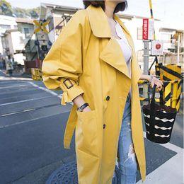 casaco trincheira amarelo Desconto TANG marca Elegante Trench coat 2019 Primavera Outono Trench Coat Mulheres Roupas Casacos Longos Streetwear Fino Amarelo Amarelo Raincoats
