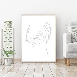Esboços de fotos on-line-Mãos nos lábios arte da face da parede da lona Posters Prints Esboço Art Linha Drawin pintura minimalista Mulher parede Imagem Decoração