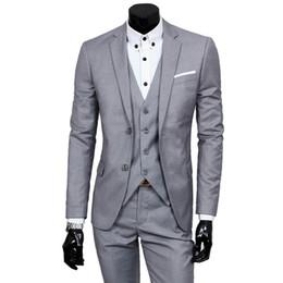 Hombres de traje de negocios online-JacketPantVest Lujo Hombre Traje de Boda Masculino 3 Unidades Blazers Slim Fit Trajes Para Hombres Traje de Negocios Fiesta Formal Chaleco Conjuntos