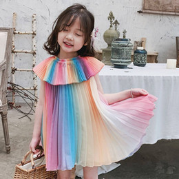 Prinzessin belle mädchen kleid online-2019 Sommer Mädchen Regenbogen Kleid Kinder Party Kleider Mode Prinzessin Plissee Kleid Magd Mädchen Kostüm Nette Kinder Belle Kleidung