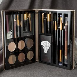 make-up-textmarker stift Rabatt Professionelle Make-up Set Augenbrauenstift Eye Highlighter Augenbrauenpinsel Make-up Set Kit Für Freies Verschiffen