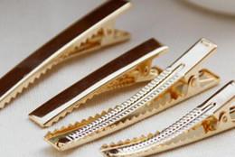 зажимные зубья Скидка 10Pcs/lot New 76mm Gold DIY Barrette Teeth Hair Clips Utility Flat Single Prong Alligator Clips