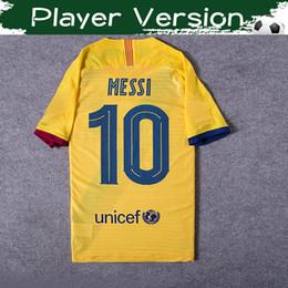 Calciatori gialli del giocatore online-Player Version # 21 F.DE JONG Lontano Yellow Jersey di calcio 2020 # 10 MESSI # 17 Griezmann # 9 SUAREZ Calcio Uniformi camicia sportiva il formato S-3XL