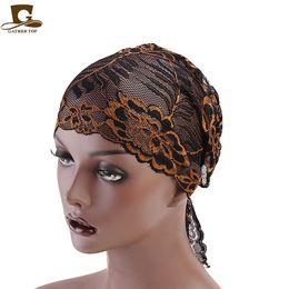 2019 mütze für muslimische frauen Muslimische Spitze Turban Frauen Mütze Hut Long Tail Headwrap Cap günstig mütze für muslimische frauen