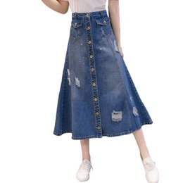 fddd7292e New Fashion Denim Skirt Women Large Size Vintage Hole Loose Button Long  Skirt Jeans Saia Mujer 2019 Spring Summer Faldas f667