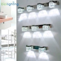 Miroir mural en Ligne-LED Applique Cristal Miroir Éclairage Avant Maquillage Salle De Bains Appliques Murales Moderne chambre salon appliques luminaire