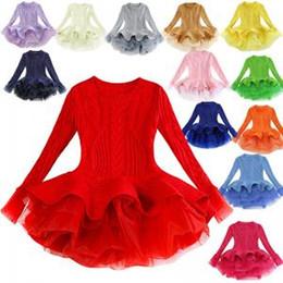 Telas de vestir de invierno online-Invierno Bebé Niñas Suéter Vestidos de encaje Niños de Punto Tutu Vestido Cálido Tela Suave Niños Ropa Niños Baile Vestido Bebe Vestido AAA1805