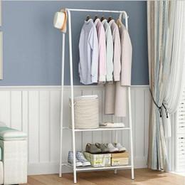 Stand ropa ropa ropa online-Ropa colgada Estante de almacenamiento de ropa de soporte de exhibición de soporte de riel de metal blanco