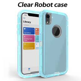 robot bags Promo Codes - Clear Robot Cases Transparent Armor Back Cover Shockproof Defender Cases for iPhone X 8 7 Samsung S9 S10 Plus OPP Bag