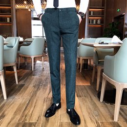 new men formal pant style Promo Codes - 2019 New style High-quality Men Pure color Formal Business suit pants Male leisure wedding bridegroom Trousers Plus size S-4XL