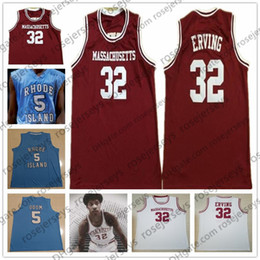 Camisa de basquete azul vermelho on-line-UMASS Massachusetts # 32 Erving Julius Red White Retro Rhode Island # 5 Lamar Odom Azul Faculdade de Basquete Men Youth Kid Minutemen Jersey 4XL