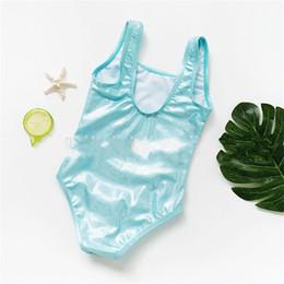 Traje de baño para chicas nuevas online-Unicornio Bordado A Mano Traje de Baño Niños Azul Verano Suave Traje de Baño Moda Elástica Popular Playa de Playa Chica traje de baño Nuevo 15ymD1