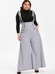 Pantaloni pantaloni online-Pantaloni Wipalo Donna Plus Size 5XL con bottoni a bretelle a vita alta, pantaloni larghi con bretelle casual larghi per le donne, pantaloni primavera estate