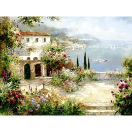 Casa de pinturas a óleo on-line-Pinturas a óleo Handmade para decoração da parede da cozinha paisagens Mediterrâneo Villa lona arte