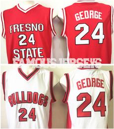 neuer spielspieler Rabatt Neue Ankunft Fresno Zustand Basketball Trikots Bulldoggen # 24 College-Spieler Paul George rot / weiße Spieluniform
