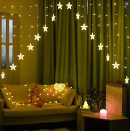 2019 decorazione della finestra della tenda della stella Star Light Bed Curtains 3M LED Light Strings Decorazione Luci natalizie Neon Lights Luci al neon decorazione della finestra della tenda della stella economici