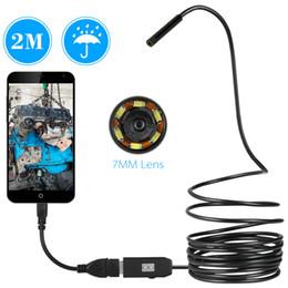 Telecamera a serpente a serpente online-USB Endoscopio 0.3MP Borescope 7mm 2M Cavo Sonda Impermeabile Ispezione Periscopio 6 LED USB Cavo Snake Tube Camera