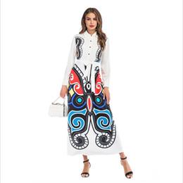 Canada Nouveau Blanc Papillon Imprimer Casual Shirt Dress Bouton Femmes À Manches Longues Fit Trompette Robe Longue Printemps Mode S-3XL Chemise Robe En Gros Fre Offre