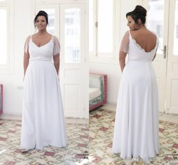 82a867d4d6 Discount white beach chic dress - 2019 Chic Plus size Wedding Dresses  Chiffon Cheap V Neck