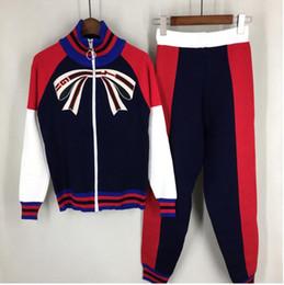 Donne tshirt crop online-donne nuove donne autunno body slim set crop top a righe + pantaloni tuta set due pezzi Fashion tshirt suit