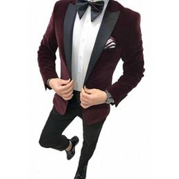 vestidos de baile de duas peças vestidos Desconto Duas peças ternos de veludo casamento lapela dos homens do smoking para o noivo Formal masculino ternos de negócio Slim Fit Prom Dress desgaste