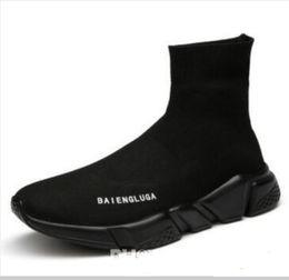 Boa Qualidade Vermelho preto Trainer de Velocidade Sapato Casual Homem Mulher Meia Botas Com Caixa Stretch-Knit Casual Botas Corrida Corredor Barato Sapatilha Alta aa2 de