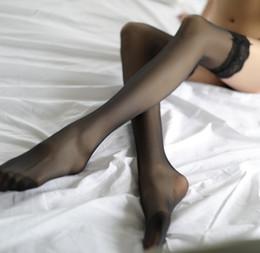 2019 meias de nylon feminino sexy Stocking cor sólida Lingerie Uniforme Temptation Sexy da Mulher transparentes laço longo meias coxa Meias 7color Tamanho livre meias de nylon feminino sexy barato