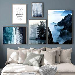 2019 paesaggio paesaggi d'arte montagne Mountain Wall Art Canvas Painting Poster Landscape Blue Beach Canvas Pictures For Living Room Painting Live Paintings Decor Home paesaggio paesaggi d'arte montagne economici