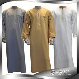 dccb338c8b Fashion Men Robes Muslim Clothing Long Sleeve Embroidery Arab Dubai Indian  Middle East Islamic Man Jubba Thobe Plus Size 3XL CM3003
