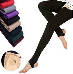 2019 arte sexy ofegante Moda Casual quente do falso veludo inverno Leggings Mulheres Leggings de malha grossa Mulheres Slim Leggingss Mulher calças sólida