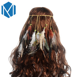 peacock hair band accessories Promo Codes - M MISM Women Colorful Feather Boho Hair Bands Hippie Festival Gypsy Tribe Beads Headband Bohemian Peacock Retro Hair Accessories