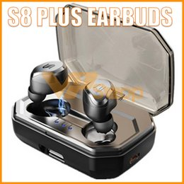 S8 Artı TWS Kulaklık Kablosuz Bluetooth Kulaklık Dokunmatik Kontrol IPX6 3000 mAh Şarj Kutusu ile Su Geçirmez Kulaklık Oto Eşleştirme Kulaklık cheap bluetooth pair nereden bluetooth çifti tedarikçiler