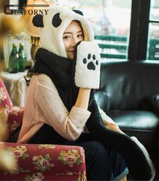luvas de panda Desconto 2019 Glaforny outono e inverno unisex chapéu morno lenço espessa luva bombardeiro chapéu pescoço proteção cap ciclismo sólida define panda