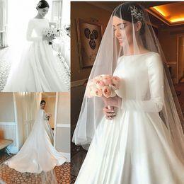 платья с длинными рукавами Скидка Простые сатиновые свадебные платья Модест с длинными рукавами Beteau Декольте с скользящим шлейфом Свадебные платья Formal Robe de mariage