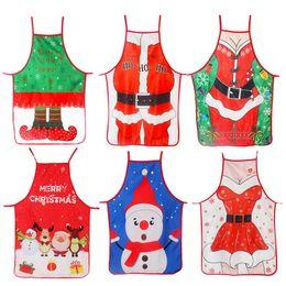 Decorações bonitos da cozinha on-line-Adulto Avental do Natal de Santa Lady Impresso bonitos dos desenhos animados que cozinha o avental de Natal Decoração Props para ferramentas de cozinha criativa HHA799