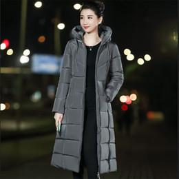 33af54b9142267 Lange schlanke Daunenmantel Frauen Winter M-6XL Plus Größe Mit Kapuze  Daunenjacke Warme Baumwolle Kleidung Reißverschluss Tasche Mode Elegante  Frauen Mantel