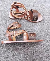 Sandali da gladiatore 35 donne online-[Con scatola] 2019 Nuovi sandali delle donne del progettista di lusso delle donne di marca in pelle stampata sandali stile gladiatore 35-41